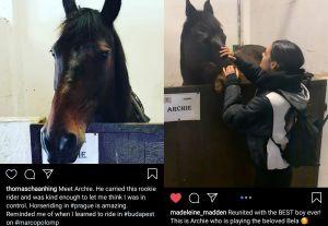 Screencaps of Thomas' Instagram post with Archie and Madeleine's Instagram post with Archie