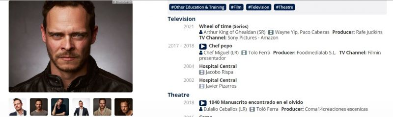 """Screen capture of Miguel Alvarez's CV including the role information """"Wheel of Time (Series) Role: Arthur King of Ghealdan, Director: Wayne Yip, Paco Cabezas, Producer: Rafe Judkins, TV Channel: Sony Pictures, Amazon"""""""