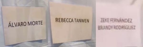 Blurry images of dressing room signs with the names Alvaro Morte one one, Rebecca Tanwen on another, and Zeke Fernandez and Brady Rodriguez on a third