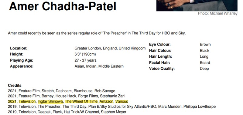 """Screen capture of Amer Chadha Patel's CV, including """"2021, Television, Ingtar Shinowa, The Wheel Of Time, Amazon, Various"""""""