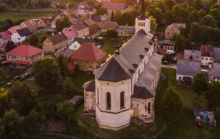 a medieval style church in a small town