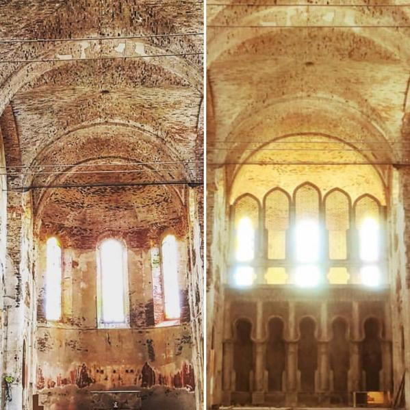 on the left is the altar area of a church. on the right, modifications have been made, including a wall with five oddly shaped alcoves added in front of the altar.