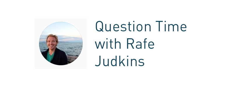Header: question time with rafe judkins