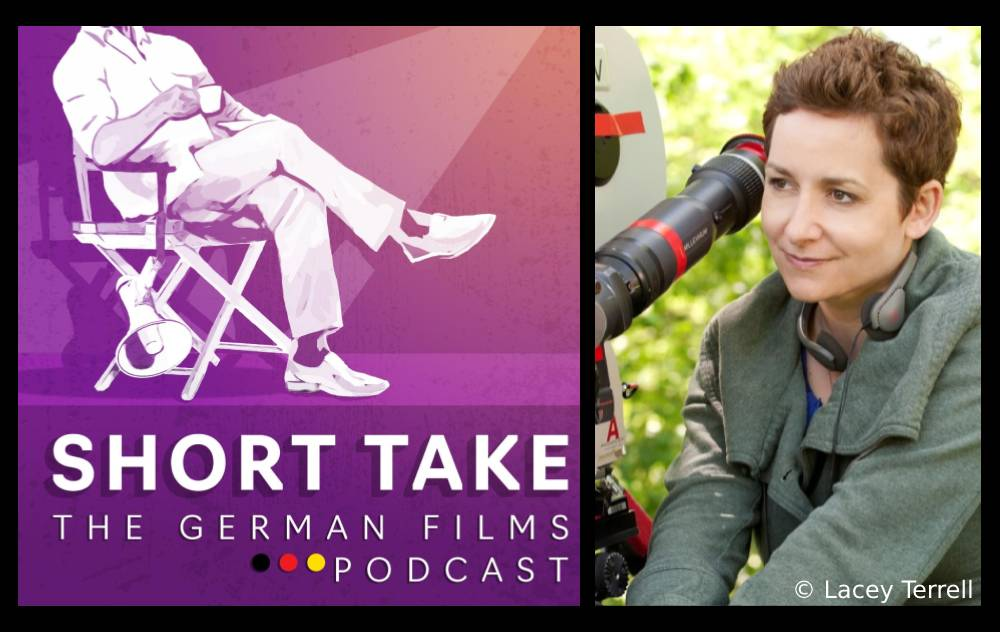The logo for the Short Take podcast next to a picture of director Uta Briesewitz, taken by Lacey Terrell