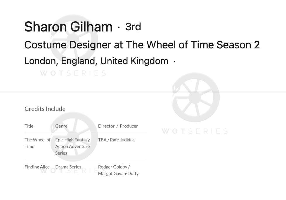 Sharon Gilham CV Credit for Season 2 of Wheel of Time