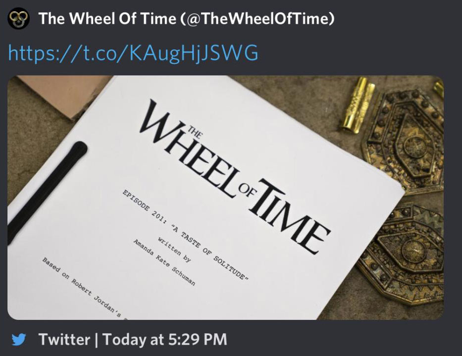 Screenshot of a deleted Tweet from Amazon Wheel of Time Twitter account showing the cover page of episode 1 of season 2