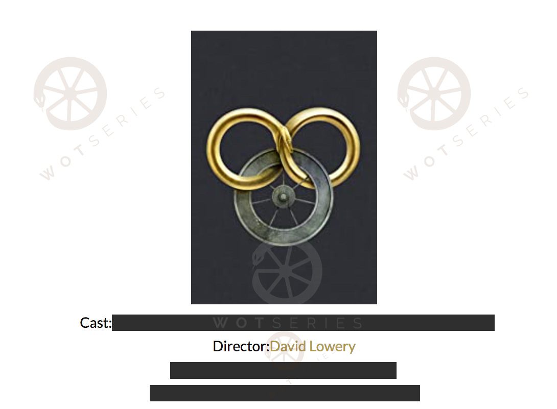 Screenshot from vendor website showing Wheel of Time logo and mention of David Lowery in the role of director