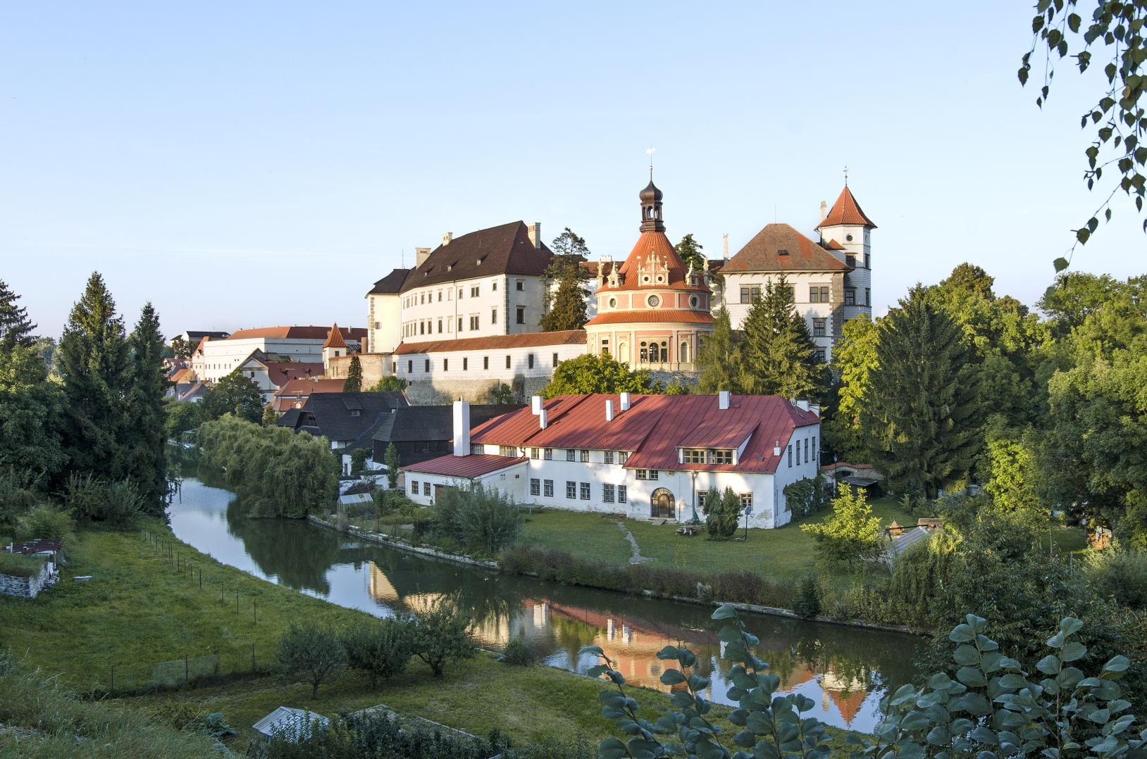 Jindřichův Hradec Castle, view across the Nežárka River from the so-called Viewpoint in the New Building.